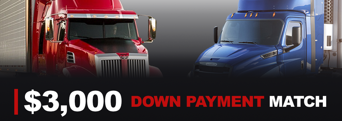 Doggett Freightliner is matching your $3,000 down payment